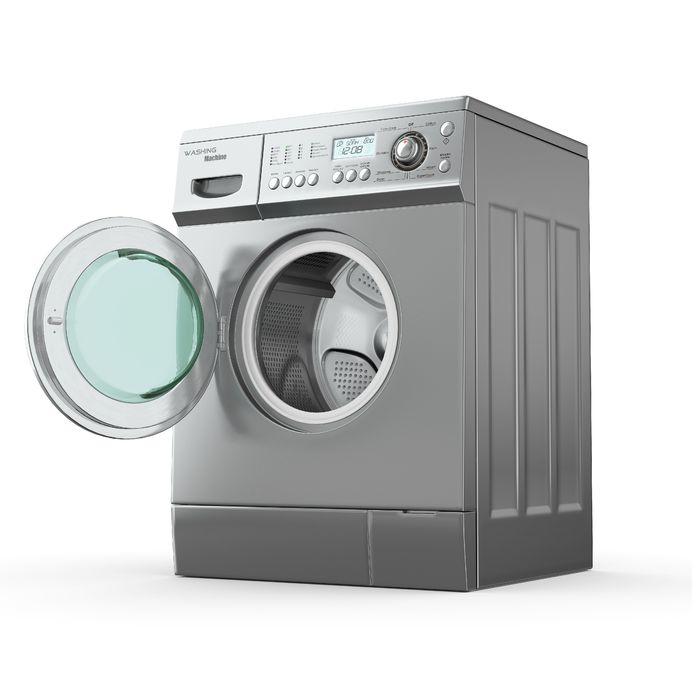 10995581 - opening washing machine on white background. 3d