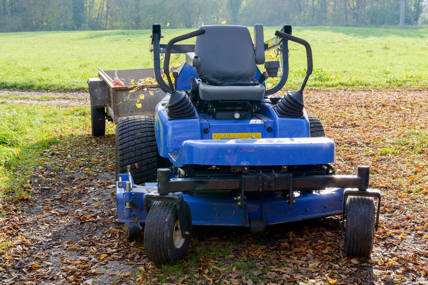 53887950 - blue lawn mower in the middle of a meadow